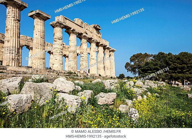 Italy, Sicily, Selinunte, the archaeological park of the ancient greek city, the ruins of the E - temple, also known as Temple of Hera