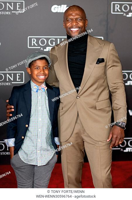 World premiere of 'Rogue One: A Star Wars Story' held at Pantages Theatre - Arrivals Featuring: Terry Crews, Son Where: Los Angeles, California