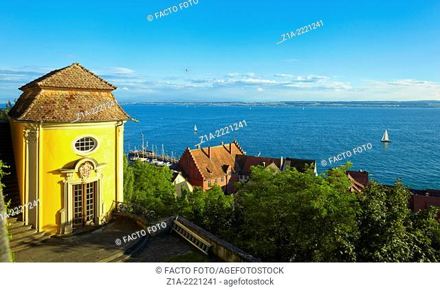 Meersburg Burg on the lake, a medieval town in Lake Constance. Baden-Württemberg, Germany