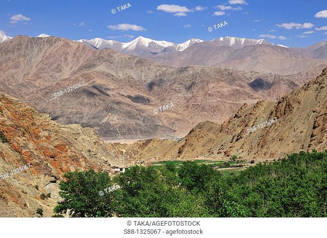 Desolate mountain view at Hemis where Buddhist highlander live Villages are like oasis in the mountain. Jammu and Kashmir, India