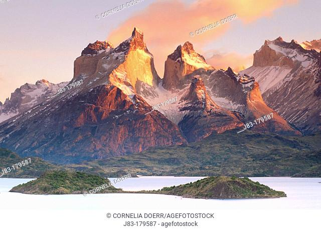 Cuernos del Paine and Pehoe Lake. Torres del Paine National Park. Patagonia. Chile