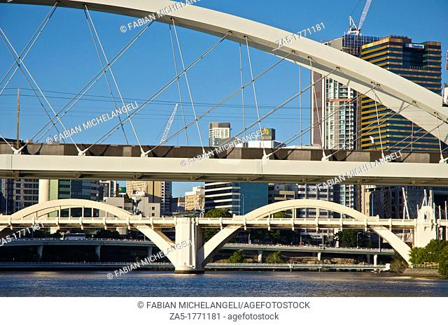 Skyline from City Cat in the Brisbane River, with the Meryvale and the William Jolly Bridges, Brisbane, Australia