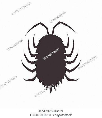 Woodlouse Insect Vector Silhouette