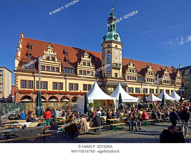 Market with the Old City Hall to Thanksgiving in Leipzig, Saxony, Germany