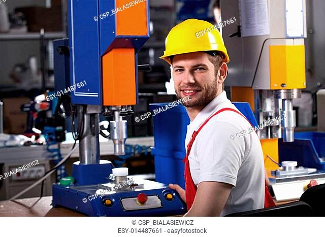 Factory worker during work