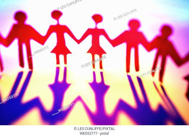 Paper figures representing people