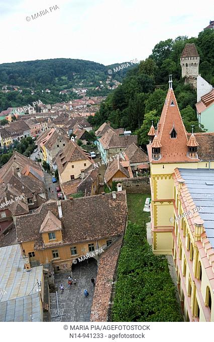 View from the clock tower of Sighisoara, Transylvania, Romania
