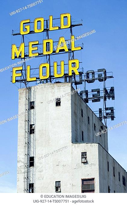 Gold Medal Flour neon sign on a tower of the Mill City Museum in Minneapolis, Minnesota