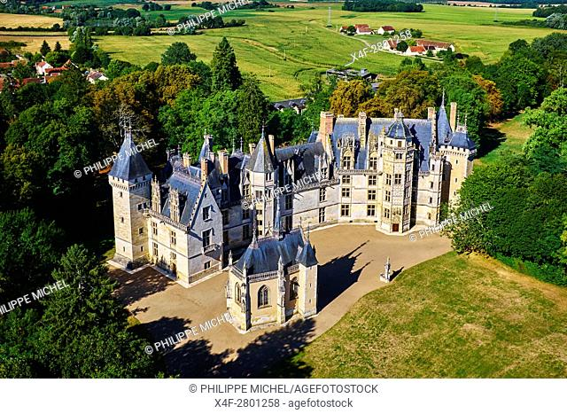 France, Cher (18), Berry, Chateau de Meillant castle, aerial view, the Jacques Coeur road