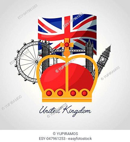 united kingdom places wheel london brigde big ben crown vector illustration