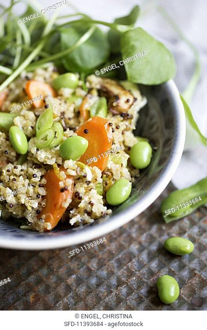 Quinoa with baby asparagus, carrots, Edamame beans and spring onions