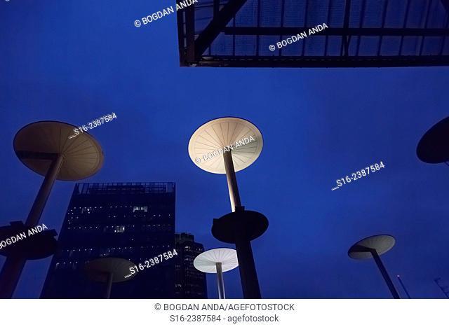 London, UK - Interesting contemporary street illumination urban design in front of Liverpool Street Station
