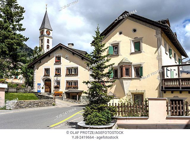 Village Silvaplana at Lake Silvaplana, Engadine, Switzerland