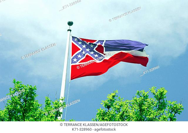 Mississippi state flag flying in the breeze