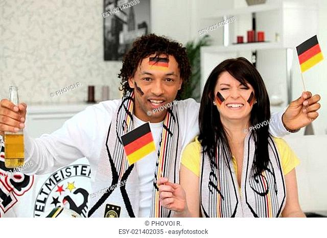 German couple supporting their national team