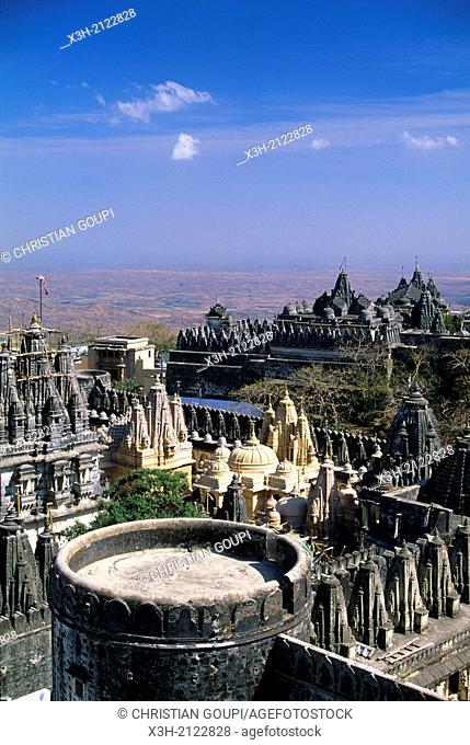 Jain Temple on the sacred hill of Palitana, Bhavnagar district, State of Gujarat, South India