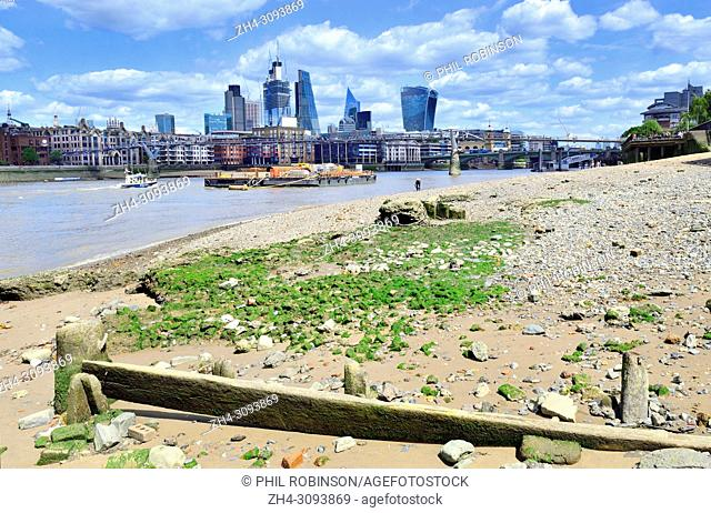 River Thames at low tide. London, England, UK. South Bank beach and City of London skyline