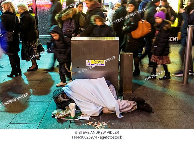 England, London, Soho, Rough Sleeper in Leicester Square