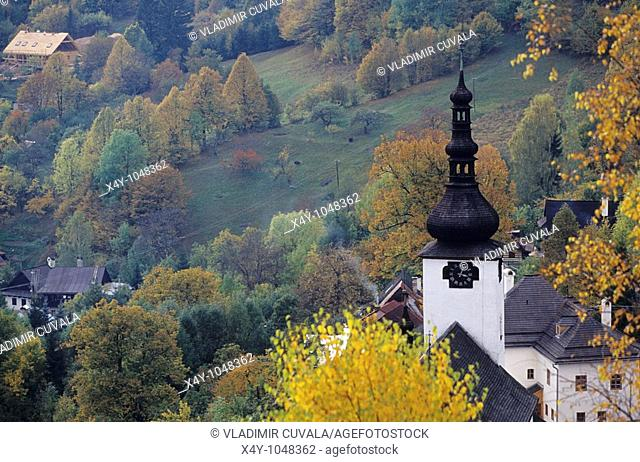 The church tower in pictoresque old mining village Spania dolina in Nizke Tatry