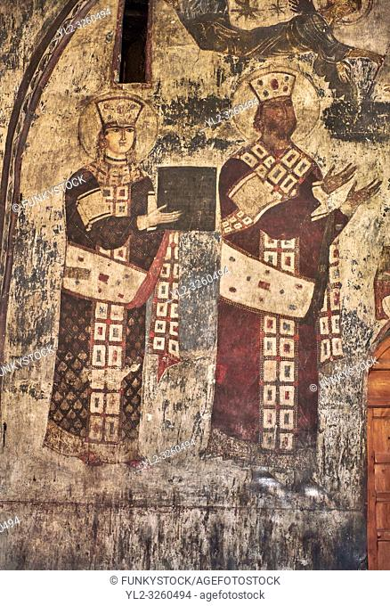 Picture & image of Vardzia medieval cave Church of the Dormition interior secco paintings of Queen Tamar & Giorgi III, part of the cave city and monastery of...