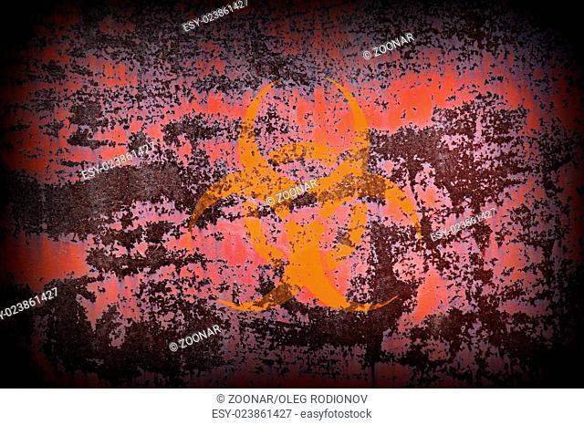Biohazard Symbol on Old Rusty Metal Surface