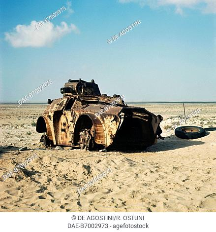 Tank wrecks in the El Alamein desert, Egypt