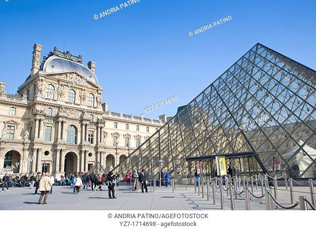 Glass Pyramid main entrance in the Louvre square