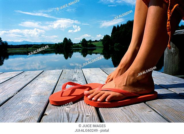Close up of woman's feet in sandals