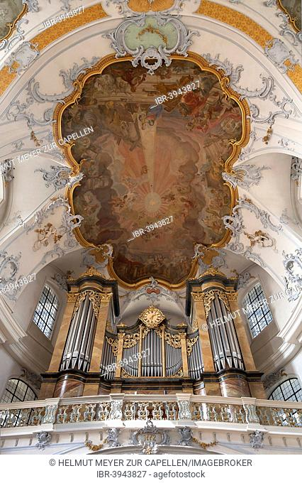 Organ loft with the Rieger organ, above ceiling frescoes by the Italian painter Andrea Appiani, Basilica of the Fourteen Holy Helpers, 1743-1772