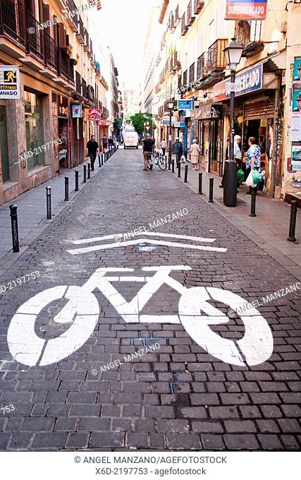 Bike trail sign, Malasaña