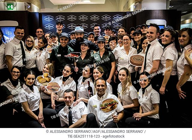 The restaurateur Joe Bastianich with the staff of the Mc Donald's during the presentation of the new 'My selection 2019' of Mc Donald's in Rome