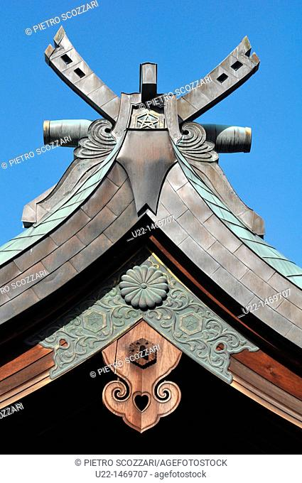 Hiroshima (Japan): detail of the roof of a shrine by the Hijiyama Park