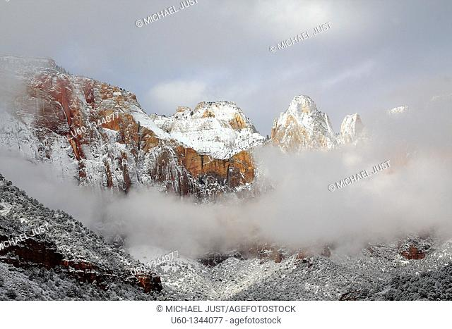 Fresh snow covers the Towers of Virgin at Zion National Park, Utah, USA