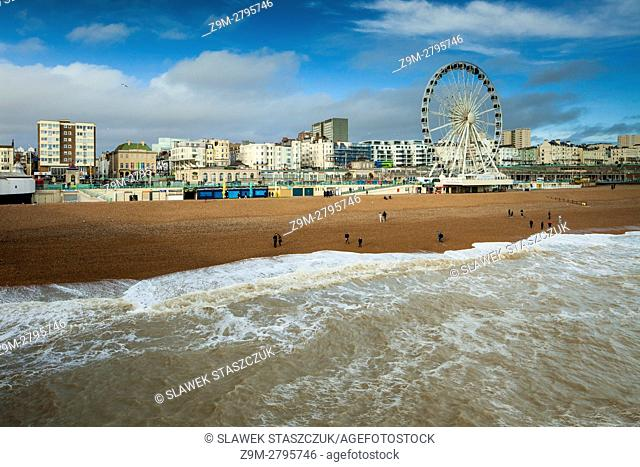 Afternoon on the beach in Brighton, East Sussex, England