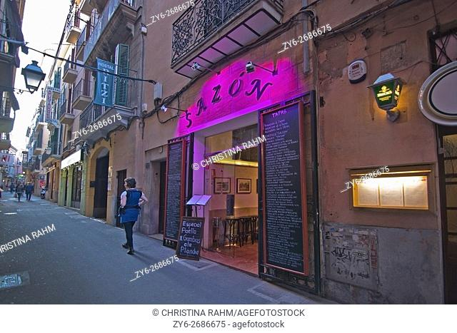 Sazon Restaurant on Carrer des Apuntadores in Palma de Mallorca, Balearic islands, Spain