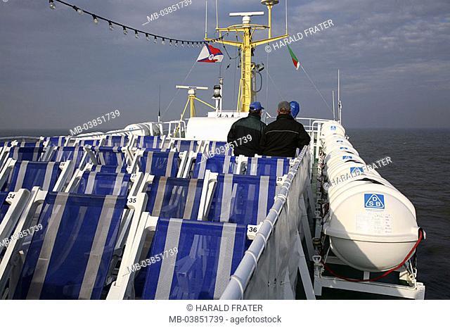 Ferryboat, sundeck, deck chairs, men, back-opinion, side, rescue-islands, ship, ferry 'MS Lady von Büsum', deck, sun-chairs, blue-knows, symbol, suns, sunbath