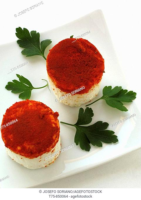 Goat cheese with red pepper