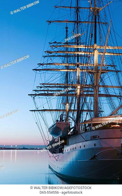 Tallship 'Danmark', Rowes Wharf, Boston harbor, Massachusetts. USA