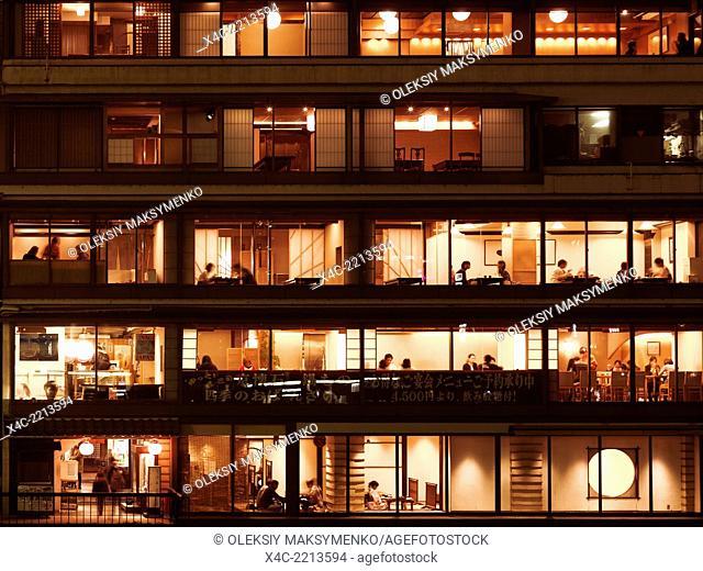 Japanese restaurant windows at night in Pontocho, Kyoto 2014
