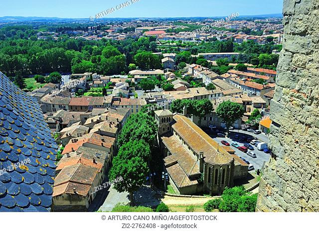 View from the Castle of the Earls in the Citadel, XIIIth-XIXth centuries. Carcassonne city, Aude department, Languedoc-Roussillon region, France