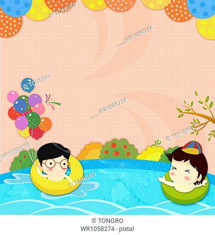 illustration of a kid father and son swimming