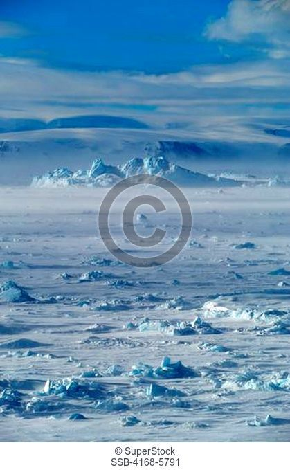 ANTARCTICA, WEDDELL SEA, FAST ICE WITH SNOW HILL ISLAND IN BACKGROUND