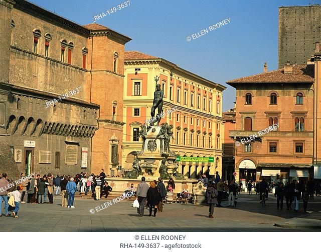 A statue of Neptune on the fountain in the Piazza Nettuno in the city of Bologna, Emilia-Romagna, Italy, Europe