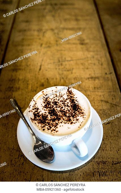 Hot capuccino coffe cup