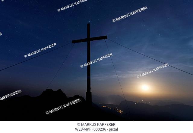 Austria, Tyrol, summit at full moon