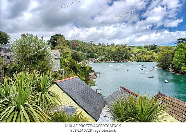 View from Warfleet Creek at Dartmouth Harbor at the River Dart, Devon, England, UK