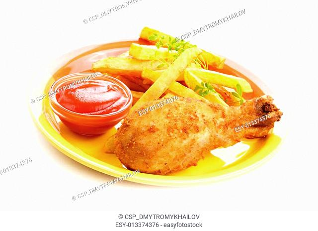 Fried drumstick with french fries