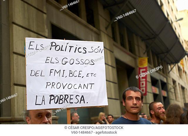 -Demonstration Indignants Movement 15M- Barcelona (Spain)