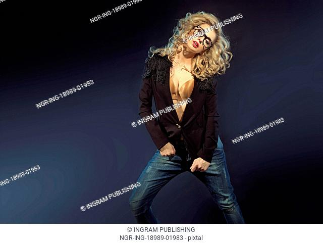 Sensual blond lady with trendy sunglasses
