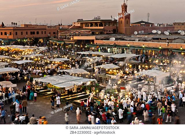 Food street stalls in Djemaa El Fna Square, Marrakesh or Marrakech, Morocco, North Africa